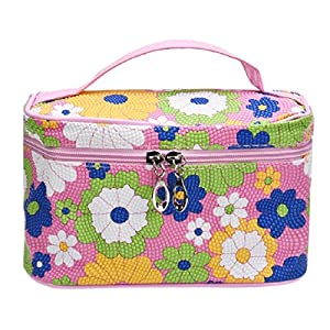 Egmy Women Cosmetic Bag PU Leather Square Sunflower Portable Large Makeup Bag (Pink)