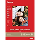 Canon Photo Paper Plus Glossy II, 8.5 x 11 Inches, 20 Sheets (2311B001) (Color: none, Tamaño: 8.5 in x 11 in)