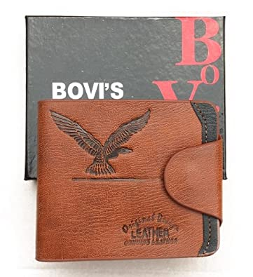 NEW MENS'S SOFT SYNTHETIC LEATHER MENS WALLET CREDIT CARD BIFOLD (BROWN)