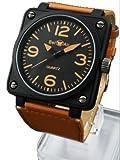 スクエアビッグフェイスミリタリー腕時計