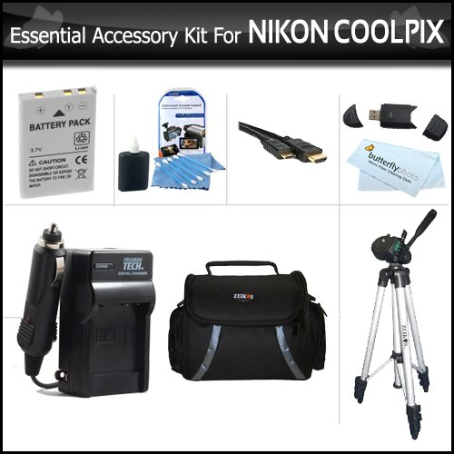 Essential Accessory Kit For Nikon COOLPIX P100 P500 P510 P520 Digital Camera Includes Extended (1100 Mah) Replacement Nikon EN-EL5 Battery + AC/DC Charger + USB 2.0 Card Reader + Case + Mini HDMI Cable + Full Tripod w/ Case + LCD Screen Protectors + More
