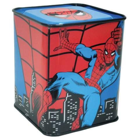 3.75 Inch Marvel Comics The Amazing Spiderman Red and Blue Tin Bank - 1