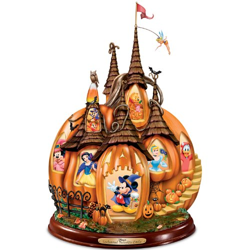Disney's Enchanted Pumpkin Castle Illuminated Halloween Sculpture by The Bradford Exchange