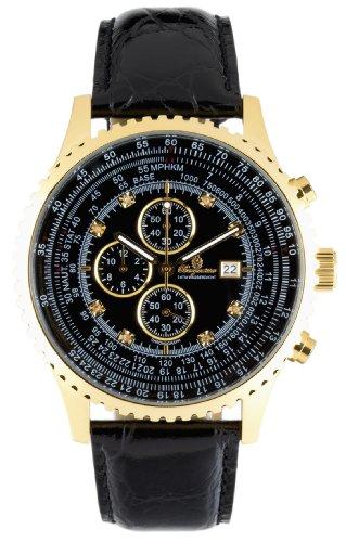 Burgmeister Savannah BM320222 Herren Chronograph gold schwarzes Zifferblatt mit 8 Diamanten Datum/Tag/Monat schwarzes Lederarmband