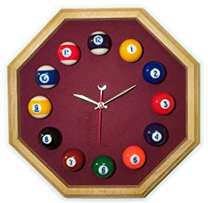 13in Octagon Billiard Clock Oak Wine Mali Felt