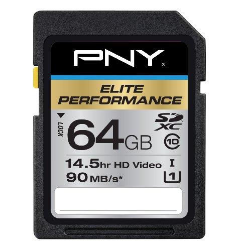PNY Elite Performance 64GB High Speed SDXC Class 10 UHS-1 Up to 90MB/sec Flash Card - P-SDX64U1H-GE