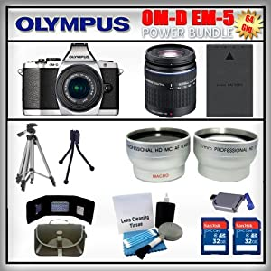 Olympus OM-D E-M5 Silver 16MP Digital Camera - Olympus 14-42mm Lens - Olympus 40-150mm Lens - Wide Angle and Telephoto Zoom Lens - 2x 32GB SDHC Memory Card - USB Memory Card Reader - Memory Card Wallet - Spare Battery - Carrying Case - Lens Cleaning Kit - Full Size and Mini Tripods