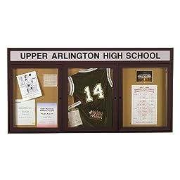3-Door Aluminum Frame Enclosed Bulletin Board Frame: Bronze Aluminum Indoor, Size: 48\