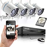 """[Pittsburgh Police """"Virtual Block Watch"""" Program Selected] Zmodo® 4CH 720P PoE NVR HD Security Camera System with 4 Indoor/ Outdoor Night Vision 720P Security Cameras and 1TB HDD (PoE Technology, e-Cloud, Smartphone Scan QR Code Quick Remote Access)"""