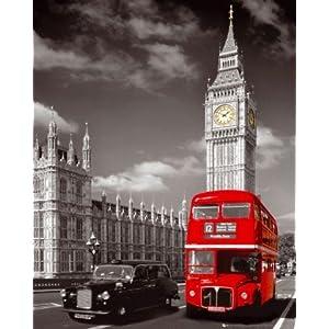 poster de londres avec le big ben un bus et un taxi deco londres. Black Bedroom Furniture Sets. Home Design Ideas