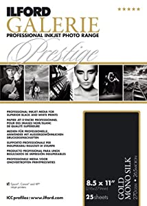 Ilford 2002419 8.5 X 11 Inches GALERIE Prestige Gold Mono Silk, 25 Sheet Pack (Black)