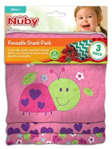 Nuby Reusable Sandwich and Snack Bags Set - 3 Pack - Ladybug