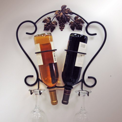 J&J Wire 2-Bottle Wine/Glass Holder front-1052975