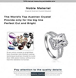 [Retro Series] Gorgeous 1.5ct Austrian Crystal Engagement Ring For Women 18k White Gold Plated.Size 6 7 8 from BBX Jewelry