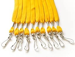 100pcs Flat ID Neck Lanyards for Badges, Swivel J-Hook, High Quality (Athletic Gold)