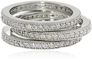 Sterling Silver Cubic-Zirconia Pave Band Three Stackable Ring Set, Size 6