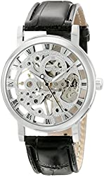 ShoppeWatch Mens Mechanical Skeleton Watch Hand Wind Up Silver Dial Black Leather Strap MW-07