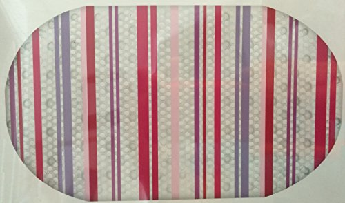 "Pink and Purple Stripes Printed Bubble Bathtub Mat - 16"" X 28"""