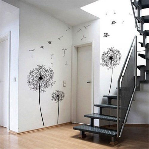 1 X Dandelion Flowers Tree Butterflies Removable Vinyl Wall Stickers Mural Home Decal Kids Room Decor (AWQE) - 1