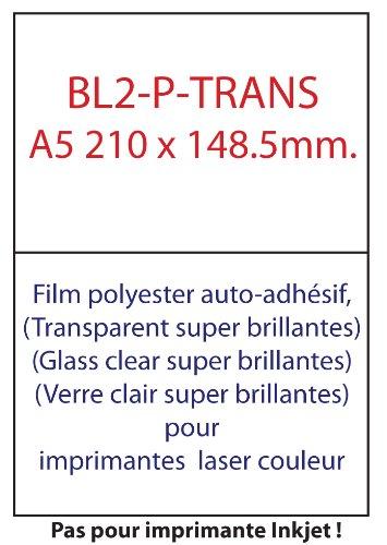 50 etiquettes transparentes polyester (Glass Gloss) super brillantes laser a5 210x148.5mm - 25 feuilles A4