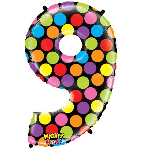 "Number Nine Mighty Bright Polka Dot Megaloon 40"" Mylar Foil Balloon"