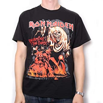 Iron Maiden T Shirt - Number Of The Beast Red Shade 100% Official