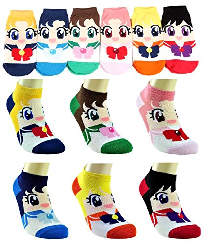 [SPJ: Japanese Anime Sailor Moon Style Character 6 Pairs Short Socks] (Sailor Moon Sailor Jupiter Wig Adult)