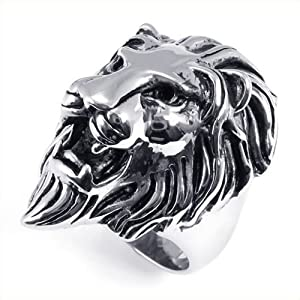 KONOV Jewelry Men's Biker Vintage Stainless Steel Lion Ring, Silver (Available in Sizes 7 - 15) - Size 8 (with Gift Bag)