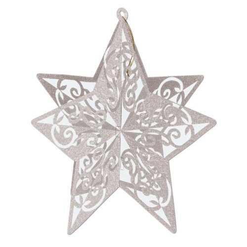 3-D Glittered Star Centerpiece (silver) Party Accessory  (1 count) (1/Pkg)