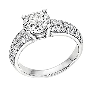 GIA Certified 14k white-gold Round Cut Diamond Engagement Ring (2.25 cttw, I Color, VVS2 Clarity)