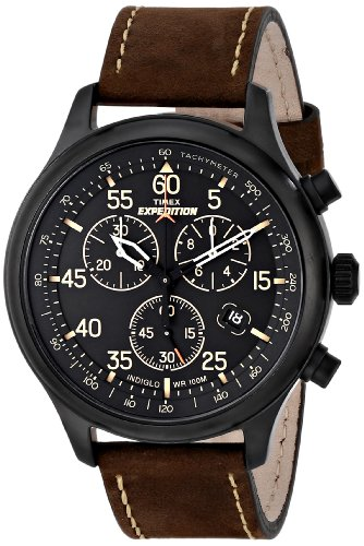 Timex Men's T49905 Expedition Rugged Field Chronograph Black Dial Brown Leather Strap Watch