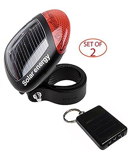 SleekLighting Solar Energy LED Bike Light + LED Keychain - Durable Plastic Build - Environmentally Friendly, Easy to Mount