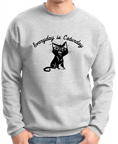 Every Day Is Caturday, Cat Humor Premium Crewneck Sweatshirt Medium Ash
