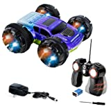 Double Sided Remote Control Car - Extreme Stunt RC Car For Kids, 360 Degree Spinning & Flips - Blue
