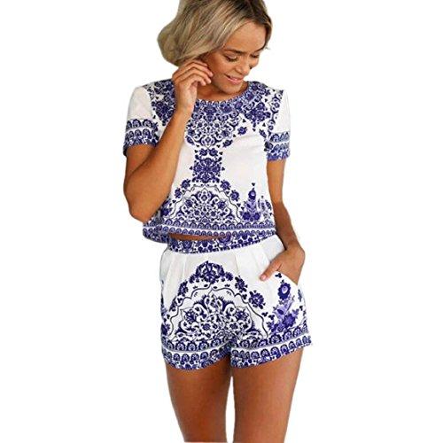 Culater® Manica Corta Donne Shirt E Pantaloncini Camicetta Blu e Bianco Pantaloni Corti (M)