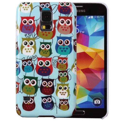 Teenitor(Tm) Cartoon Owl Printed Hard Plastic Protective Case For Samsung Galaxy S5 With Stylus, Screen Protector, Earphone Cable Organizer (Shipping From Usa)