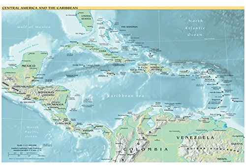 Map of Central America and the Caribbean (Political) Art Poster Print 19 x 13in (Central America Poster compare prices)