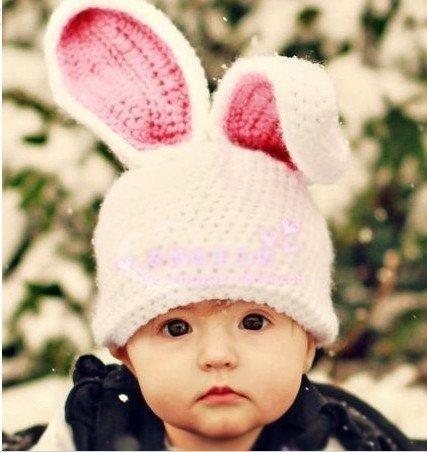 可愛いウサギ 手作り帽子★ベビー赤ちゃん 耳当てニット帽【海外直送・並行輸入品】 (こちらの商品の内訳は『番号(1)/ホワイト』のみ)