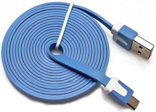 "Mylife Sky Blue {Tangle-Free Flat Noodle Design} 6' Feet (1.8 Meter) Quick Charge Usb 2.0 Micro Usb To Usb Data Sync Cord For Phones, Cameras, Tablets And Gps Devices ""See Compatibility"" (Durable Rubber Coat)"