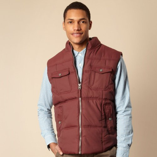 St George By Duffer Dark Red Padded Gilet