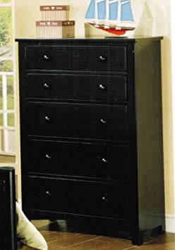 Bedroom Storage Chest Contemporary Style in Black Finish