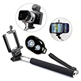 Mondpalast @ Black Extendable Self Portrait Photo Selfie stick with Manfrotto Black phone support Adajustable Stand + remote for iPhone 6 5S 5 4S; Samsung Galaxy S5 S4 S3 Note 4 Note 3 , Sony xperia Z3 Z2 Z1 Z compact , LG G3 G2 , HTC one m8 m7