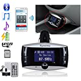 Rymemo New Univeral LCD Display Bluetooth Wireless Car MP3 FM Transmitter SD MMC USB Modulator Radio Adapter Handsfree Car Kit For Calling and listening to music, with Charging Port for iPhone 6 iPhone 6 Plus iPhone 5S 5 5C 4S 4 iPod, Android Smart Cell phone, MP3 Players and Other Bluetooth enabled Devices