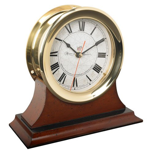 Large Captain's Clock with Mahogany Wood Base - Ship's Clock in Solid Brass Case with Mahogany Wood Base, Nautical Accessory, Marine Decor - 9.4 x 9.5 x 4 in