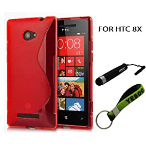 Red Slim Fit Flex S Line TPU Case for HTC 8X Windows Phone 8X With Exclusive Aluminum Touch Pen And Black And Green Color Key Chain Kit
