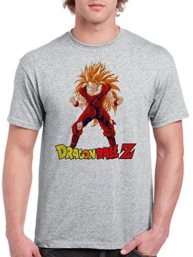 Dragon-Ball-Z-Goku-Super-Sayan-3-Camiseta-Para-Hombre-Gris-Todos-Los-Tamaos-Mens-T-Shirt-Grey