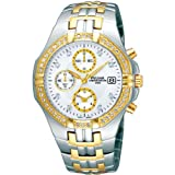 Pulsar PF8396X1 Stainless Steel Chronograph Two Tone Stone Set Mens Wrist Watch