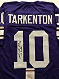 "Autographed/Signed Fran Tarkenton ""HOF 86"" Minnesota Vikings Purple Football Jersey JSA COA"