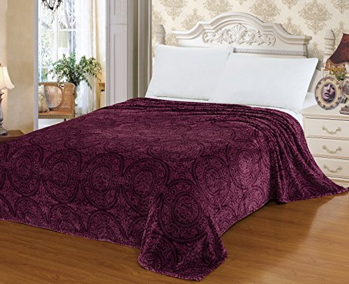 "Euphoria Brand Super Soft Fleece Prints Throw Blanket For Sofa Couch Lounge Bed Bedding Antique Purple Medallion 60"" X 80"" front-118064"