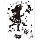 ウォールステッカー シルエット 童話の世界 不思議の国のアリス A4サイズ